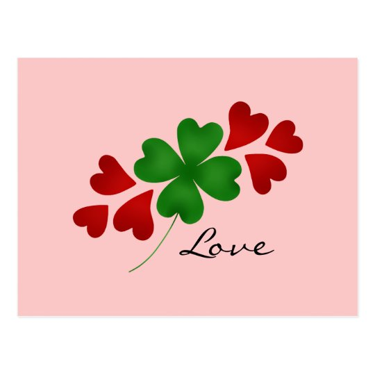 Shamrock and hearts on pink postcard
