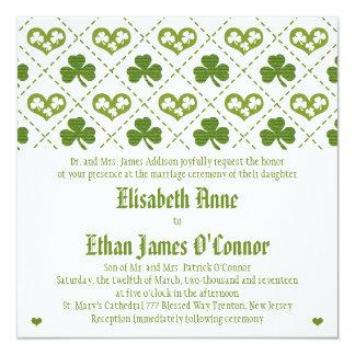 Shamrock and Hearts Wedding Invitations