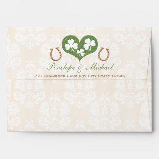 Shamrock and Horseshoe Wedding Envelope