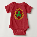 Shamrock and Knotwork on Red Baby Bodysuit