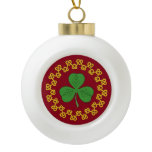 Shamrock and Knotwork on Red Ceramic Ball Christmas Ornament
