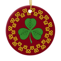 Shamrock and Knotwork on Red Ceramic Ornament
