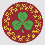 Shamrock and Knotwork on Red Classic Round Sticker