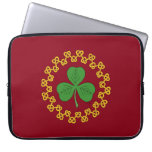 Shamrock and Knotwork on Red Computer Sleeve