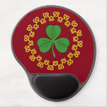 Shamrock and Knotwork on Red Gel Mouse Pad