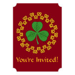 Shamrock and Knotwork on Red Invitation
