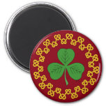 Shamrock and Knotwork on Red Magnet