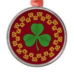 Shamrock and Knotwork on Red Metal Ornament