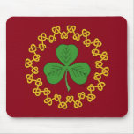 Shamrock and Knotwork on Red Mouse Pad