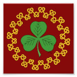 Shamrock and Knotwork on Red Photo Print