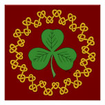 Shamrock and Knotwork on Red Poster