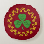 Shamrock and Knotwork on Red Round Pillow
