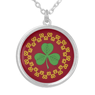 Shamrock and Knotwork on Red Silver Plated Necklace