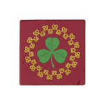 Shamrock and Knotwork on Red Stone Magnet