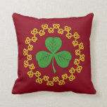 Shamrock and Knotwork on Red Throw Pillow