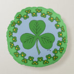 Shamrock and Knotwork Round Pillow