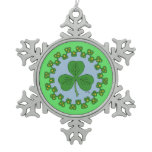 Shamrock and Knotwork Snowflake Pewter Christmas Ornament