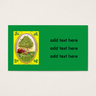 Shamrock Bagpipes Gold Green Business Card