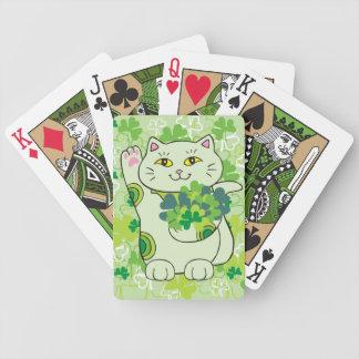Shamrock Bouquet Maneki Neko (Lucky Cat) Bicycle Playing Cards