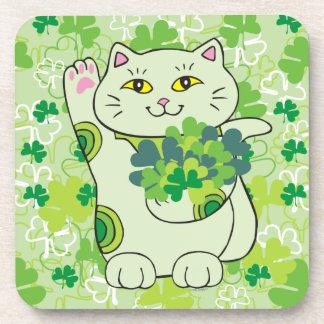 Shamrock Bouquet Maneki Neko (Lucky Cat) Coaster