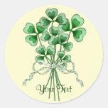 Shamrock Bouquet Round Stickers