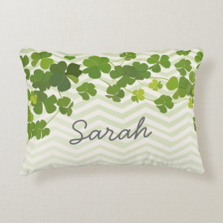 Shamrock bouquet, st patrick's day personalize decorative pillow