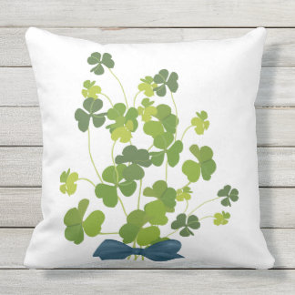 Shamrock bouquet, st patrick's day throw pillow