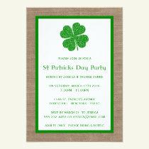 Shamrock & Burlap St. Patrick's Day Invitation