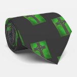 Shamrock Celtic Knot Stone Cross Green Gray Tie