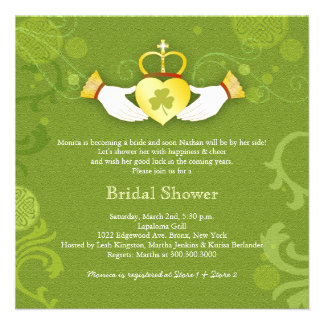 Shamrock Claddagh Heart Bridal Shower Invitations