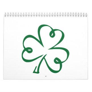 Shamrock clover wall calendar