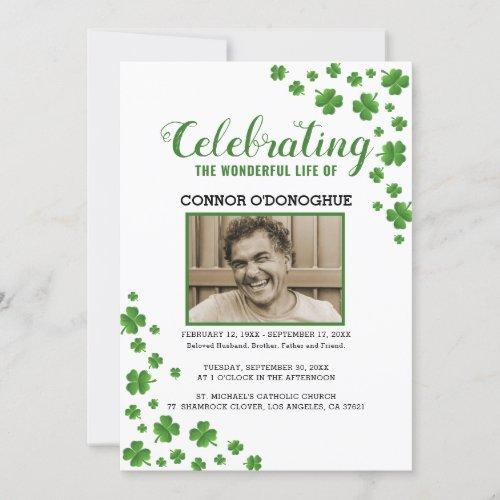 Shamrock Clover Memorial  Irish Funeral Invitation