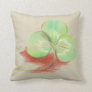 Shamrock Clover Pastel Drawing Throw Pillow