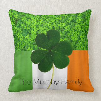 Shamrock Clovers Green Irish Flag Ireland Name Throw Pillow