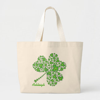 Shamrock Collage Personalized Large Tote Bag