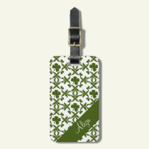 Shamrock Damask Luggage Tag