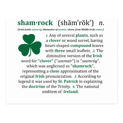 Post Meaning: Shamrock Definition Postcard