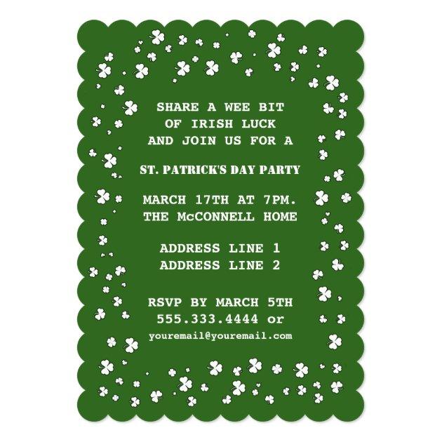Shamrock Design St. Patrick's Day Invitations (back side)