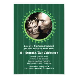 "Shamrock Double Porthole St Patricks Day Party 4.5"" X 6.25"" Invitation Card"