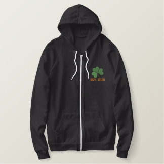 Shamrock Embroidered Women Sherpa Zip HoodieTempla Embroidered Hoodie