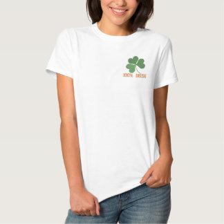 Shamrock Embroidered Women T-Shirt Template