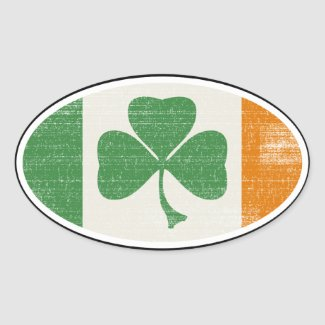 Shamrock flag oval stickers