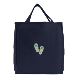 Shamrock Flip Flops Embroidered Tote Bag