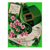 Shamrock Flower Leprechaun Hat Sheet Music Postcard