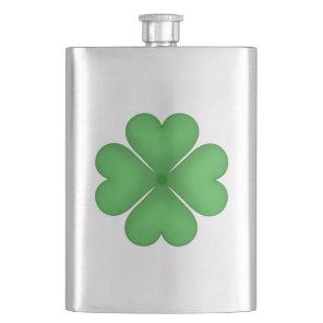 Shamrock Four leaf Clover Hearts Flask