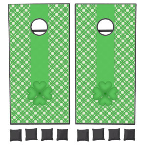 Shamrock Four leaf Clover Hearts pattern Customize Cornhole Set
