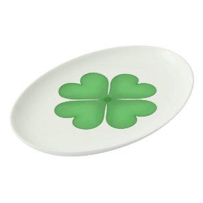 Shamrock Four leaf Clover Hearts pattern Porcelain Serving Platter