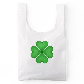 Shamrock Four leaf Clover Hearts Reusable Bag