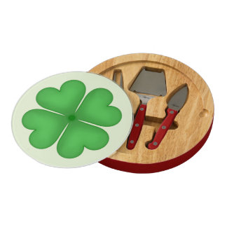 Shamrock Four leaf Clover Hearts Round Cheese Board