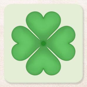 Shamrock Four leaf Clover Hearts Square Paper Coaster